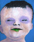 "as cHerbert. Baby Head. Acrylic paint, gel and inkjet on canvas. 19"" x 15 3/8"" 