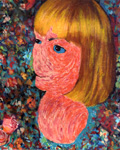 "as cHerbert. Blond Bust Form. Acrylic paint, gel and inkjet on canvas. 15 3/8"" x 19"" 
