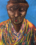 """as cHerbert. Coat of Many Colours. Acrylic paint, gel and inkjet on canvas. 19"""" x 15 3/8""""   48 x 39 cm. Claude Breeze, Artist"""