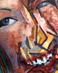 """as cHerbert. Smiling Wrinkled Head. Acrylic paint, gel and inkjet on canvas. 15 3/8"""" x 19""""   39 x 48 cm. Claude Breeze, Artist"""